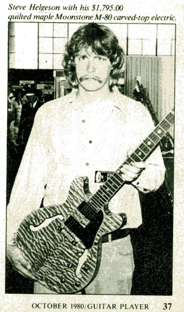 Steve Helgeson introduces Extreme quilt M-80 guitar at NAMM,Aneheim,1980