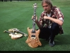Steve, with one of 12 Eagle guitars. Two Vulcan Deluxes in background